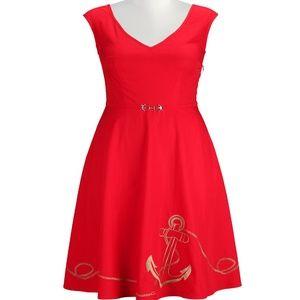 eShakti NAUTICAL ANCHOR EMBELLISHED DRESS